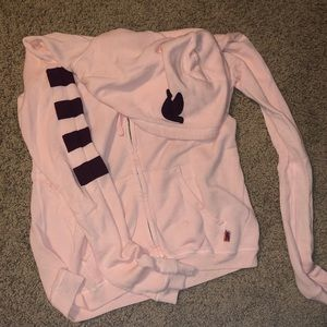 FREECITY pink striped zip up hoodie